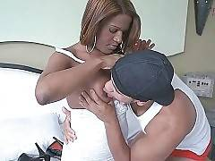 Hot looking ebony she-male and her friend get horny.
