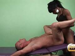 Ebony t-mistress deeply penetrates tattooed white man.