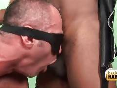 Tough guy readily works his mouth at tranny`s brown cock.