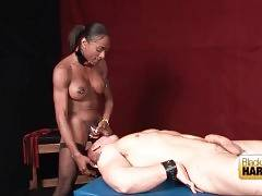 Busty chocolate shemale deeply penetrates white guy.
