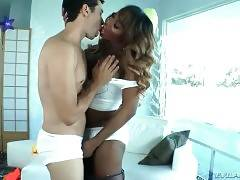 Naughty black tranny takes her friend to her place.