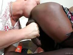 White Dude And Lovely Black T-Girl Get Horny 2