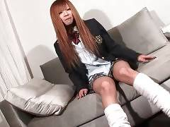 Cute naughty young ladyboy spreads her legs.