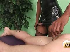Black tranny makes some tests with guy before giving therapy.