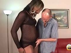 This big black shemale eagers for white cock.