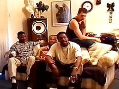Three horny black guys team up to pound a tight shemale ass hole in this ebony transsexual gangbang clip.  The big dick shemale looks slightly scared as she sees the three well hung, muscular and the dominant studs strutting around her.  She tries to get