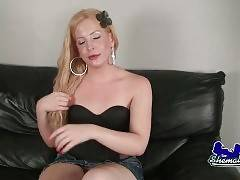 Blonde tranny Soleil is going to make you enjoy her action.