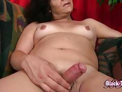 Nasty Ebony She-Male Plays With Her Dick 2