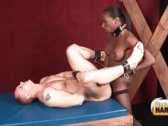 Black tgirl drills bounded white guy with hot tonned body.