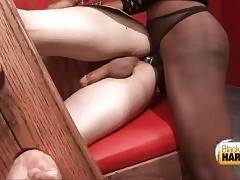 Guy gets his tight butt hole deeply penetrated by his black t-mistress.
