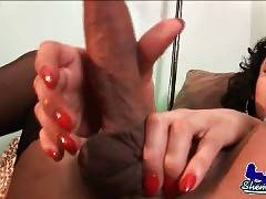 Breasted T-Ebony Massages Her Thick Cock 3