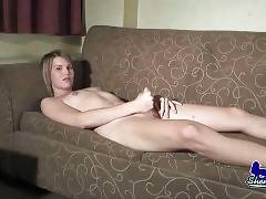 Naughty TS Maiden Heaven rubs her dick and asshole.
