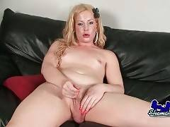 TS Soleil plays her dick until leads herself to orgasm.