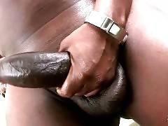 Awesome Black She-Male Jerks On Camera 1