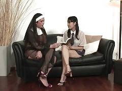 Four Transsexual Nuns Attack Cute Young Chick 1