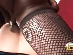 Nasty chocolate tranny loves to fuck male`s butt.