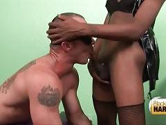 Dude does his best to pleasure his ebony t-mistress.