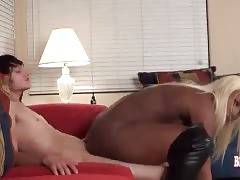 White Fellow Drills Slutty Ebony She-Male 3