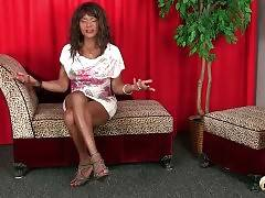 Black tgirl tells about herself and soon demonstrates her boobs.
