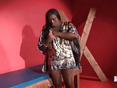 Naughty ebony tgirl starts her first solo for camera.
