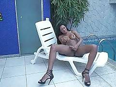 Hot Booty Latin Tranny Plays With Her Dick 2