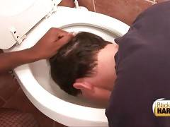 Bitchy ebony tranny China dips John`s head to dirty toilet.