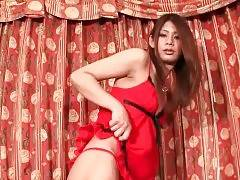 Pretty japanese tranny is posing for camera.