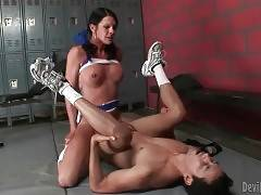 Nasty transsexual cheerleader stuffs horny fallow.