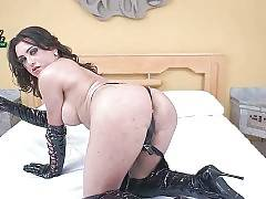 This sexy brunette shemale loves to play erotic games.