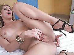 Sexy Brazilian Tranny Rubs Her Craving Dick 1