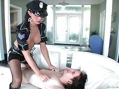 Inpressing tgirl in police uniform attacks her captive.