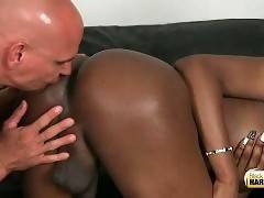 Hungry bold man tastes shemale`s brown eye.